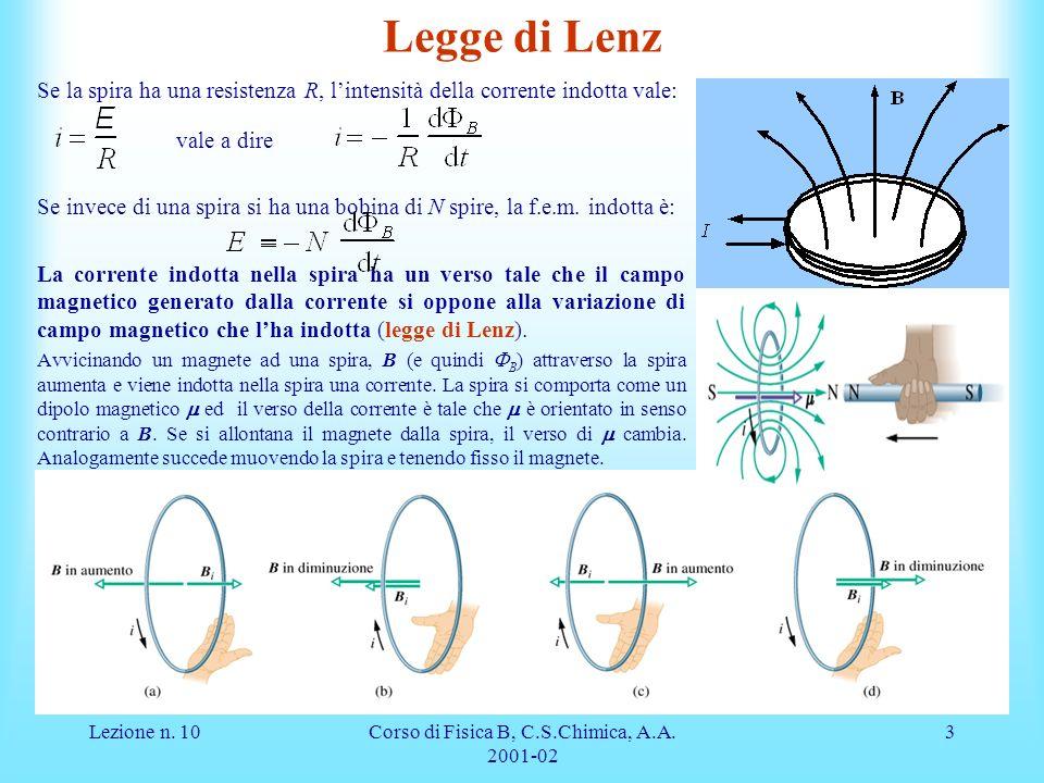 Lezione n. 10Corso di Fisica B, C.S.Chimica, A.A. 2001-02 3 Legge di Lenz Se la spira ha una resistenza R, lintensità della corrente indotta vale: val