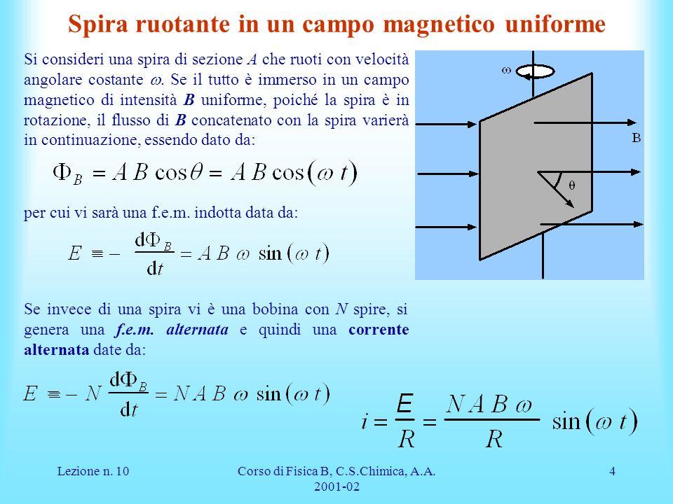 Lezione n. 10Corso di Fisica B, C.S.Chimica, A.A. 2001-02 4 Spira ruotante in un campo magnetico uniforme Si consideri una spira di sezione A che ruot