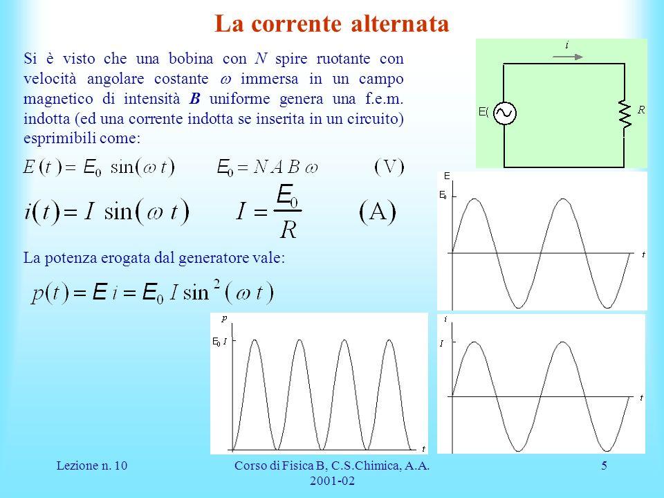 Lezione n. 10Corso di Fisica B, C.S.Chimica, A.A. 2001-02 5 La corrente alternata Si è visto che una bobina con N spire ruotante con velocità angolare