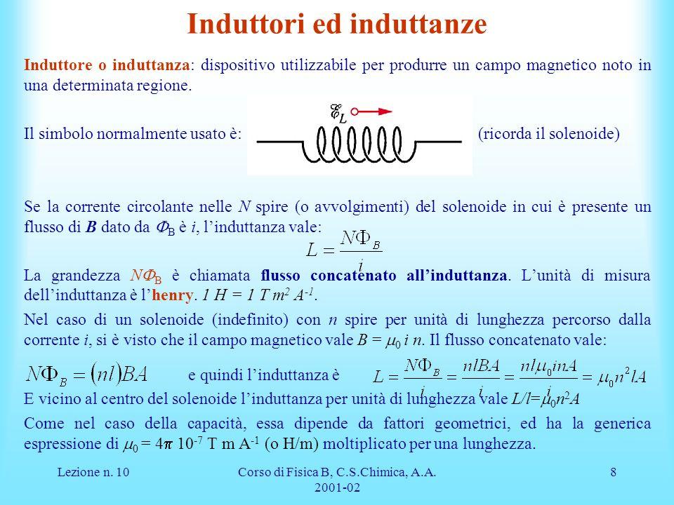 Lezione n. 10Corso di Fisica B, C.S.Chimica, A.A. 2001-02 8 Induttori ed induttanze Induttore o induttanza: dispositivo utilizzabile per produrre un c