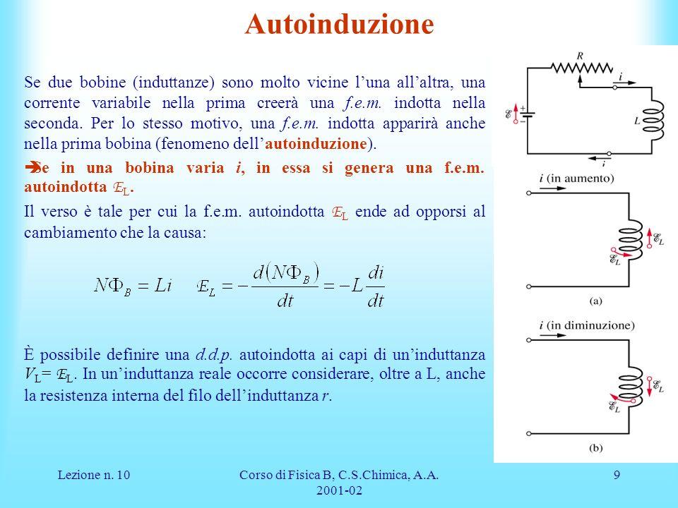 Lezione n. 10Corso di Fisica B, C.S.Chimica, A.A. 2001-02 9 Se due bobine (induttanze) sono molto vicine luna allaltra, una corrente variabile nella p