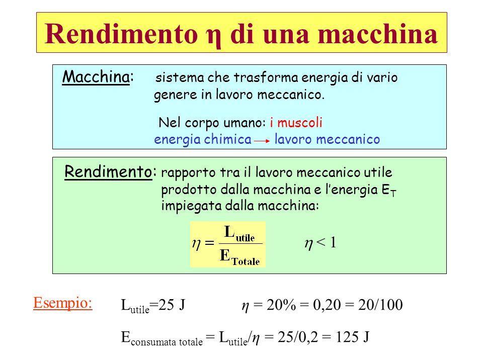Rendimento η di una macchina Macchina: sistema che trasforma energia di vario genere in lavoro meccanico. Nel corpo umano: i muscoli energia chimica l