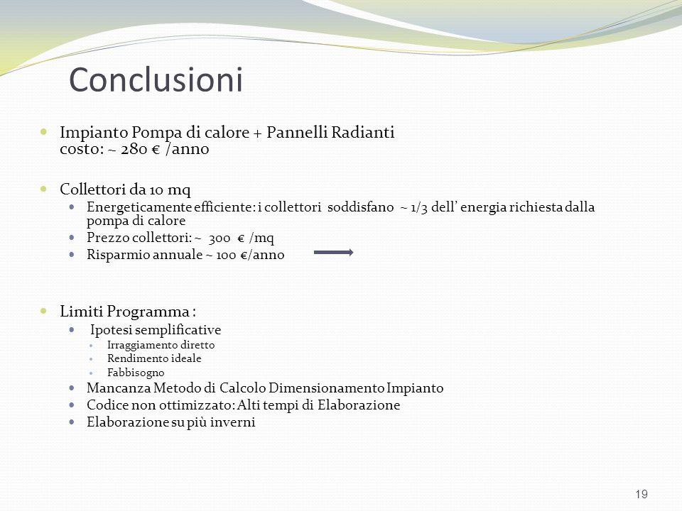 Conclusioni Impianto Pompa di calore + Pannelli Radianti costo: ~ 280 /anno Collettori da 10 mq Energeticamente efficiente: i collettori soddisfano ~