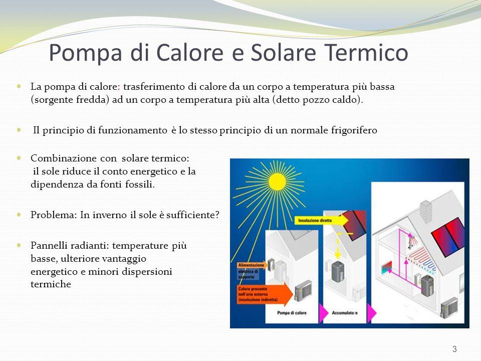 Pompa di Calore e Solare Termico La pompa di calore: trasferimento di calore da un corpo a temperatura più bassa (sorgente fredda) ad un corpo a tempe