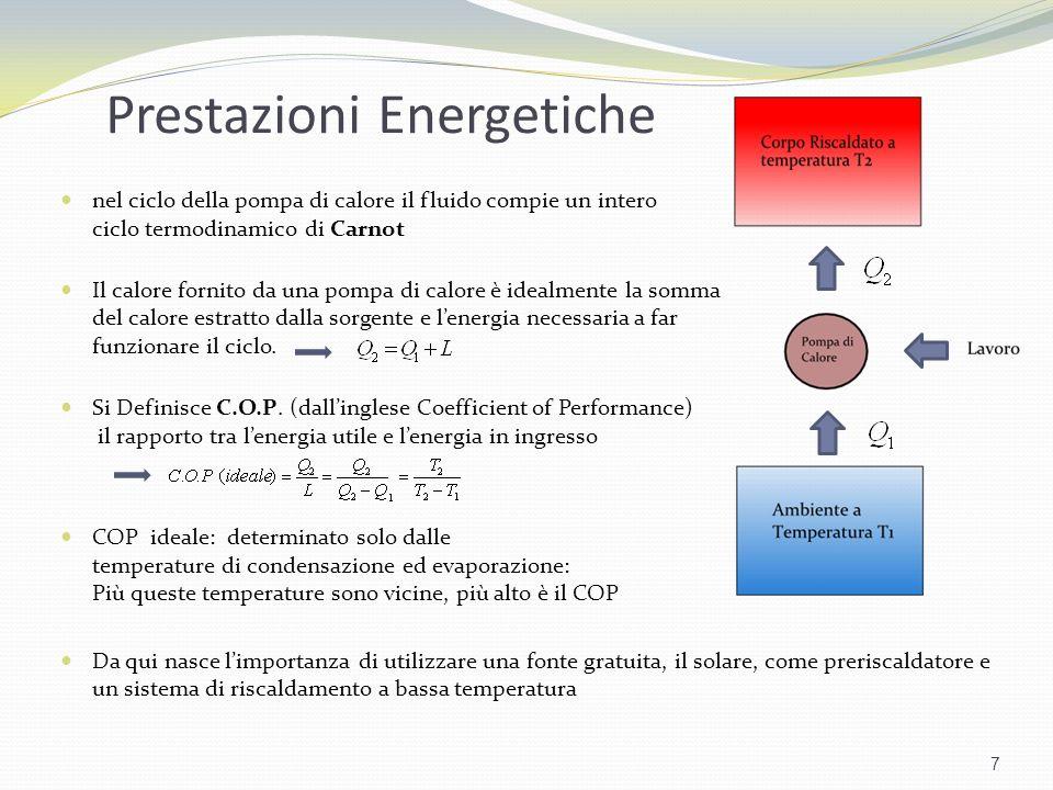 Prestazioni Energetiche 7 nel ciclo della pompa di calore il fluido compie un intero ciclo termodinamico di Carnot Il calore fornito da una pompa di c