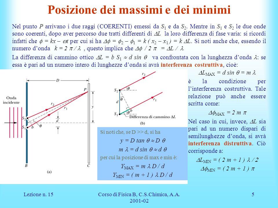 Lezione n.15Corso di Fisica B, C.S.Chimica, A.A.