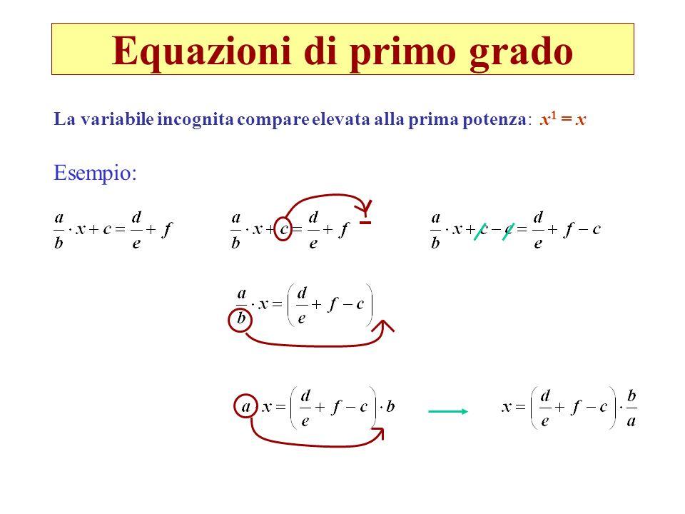 Equazioni di primo grado Esempio: La variabile incognita compare elevata alla prima potenza: x 1 = x