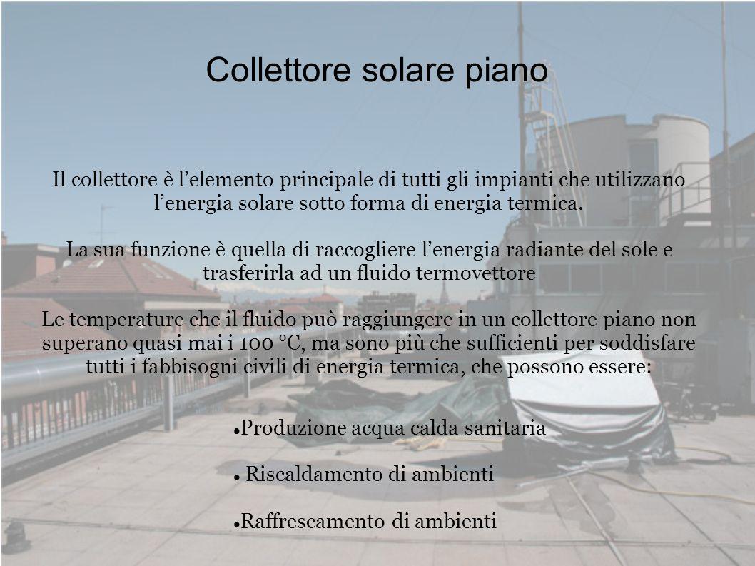 Collettore solare piano Il collettore è lelemento principale di tutti gli impianti che utilizzano lenergia solare sotto forma di energia termica. La s