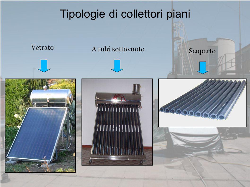Tipologie di collettori piani /1 Vetrato Piastra captante: costituita da un metallo ad alta capacità di trasmissione del calore, con tubi integrati per permettere il fluire del fluido termovettore.