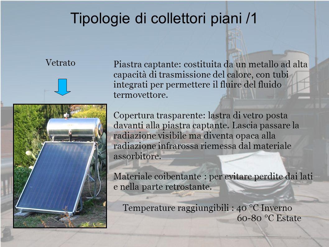 Tipologie di collettori piani /1 Vetrato Piastra captante: costituita da un metallo ad alta capacità di trasmissione del calore, con tubi integrati pe