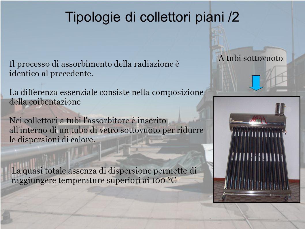 Tipologie di collettori piani /2 A tubi sottovuoto Il processo di assorbimento della radiazione è identico al precedente. La differenza essenziale con