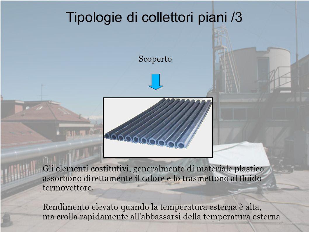Tipologie di collettori piani /3 Scoperto Gli elementi costitutivi, generalmente di materiale plastico assorbono direttamente il calore e lo trasmetto
