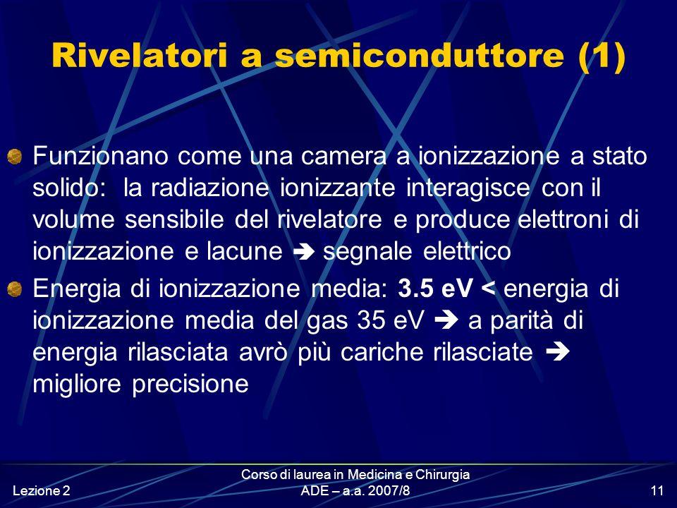 Lezione 2 Corso di laurea in Medicina e Chirurgia ADE – a.a. 2007/810 Rivelatori a gas (ad esempio, camera a ionizzazione) tensione tra gli elettrodi