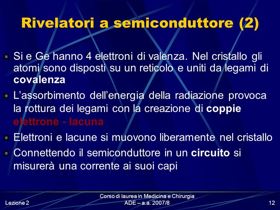 Lezione 2 Corso di laurea in Medicina e Chirurgia ADE – a.a. 2007/811 Rivelatori a semiconduttore (1) Funzionano come una camera a ionizzazione a stat