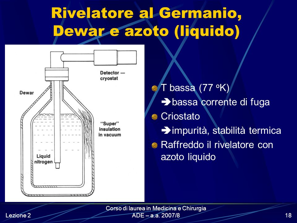 Lezione 2 Corso di laurea in Medicina e Chirurgia ADE – a.a. 2007/817 Rivelatore al Germanio e criostato