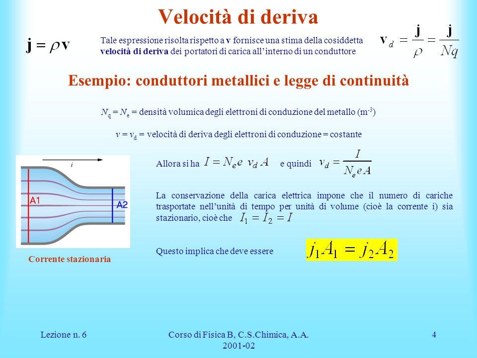Lezione n. 6Corso di Fisica B, C.S.Chimica, A.A. 2001-02 4 Velocità di deriva Tale espressione risolta rispetto a v fornisce una stima della cosiddett