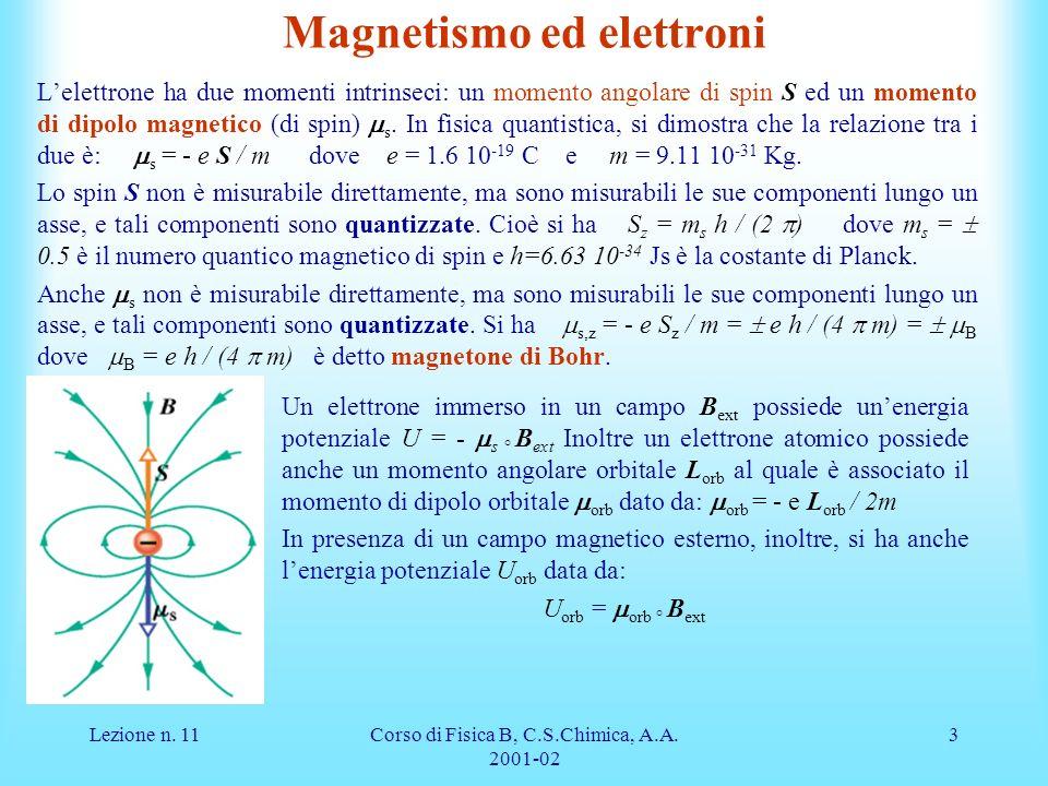 Lezione n. 11Corso di Fisica B, C.S.Chimica, A.A. 2001-02 3 Magnetismo ed elettroni Lelettrone ha due momenti intrinseci: un momento angolare di spin