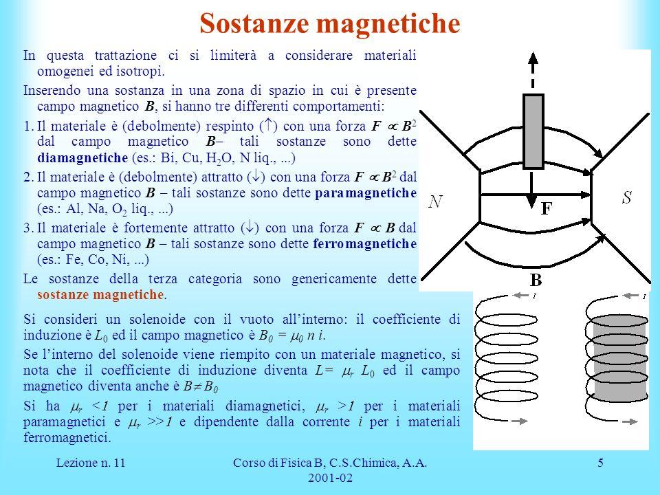 Lezione n. 11Corso di Fisica B, C.S.Chimica, A.A. 2001-02 5 Sostanze magnetiche In questa trattazione ci si limiterà a considerare materiali omogenei