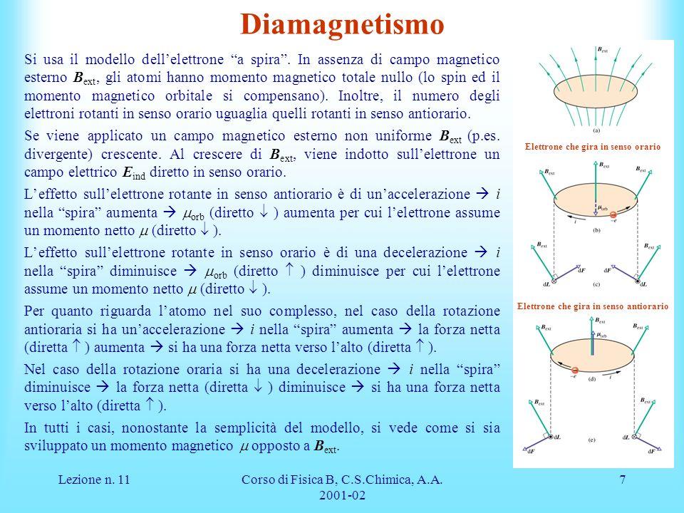Lezione n. 11Corso di Fisica B, C.S.Chimica, A.A. 2001-02 7 Diamagnetismo Si usa il modello dellelettrone a spira. In assenza di campo magnetico ester