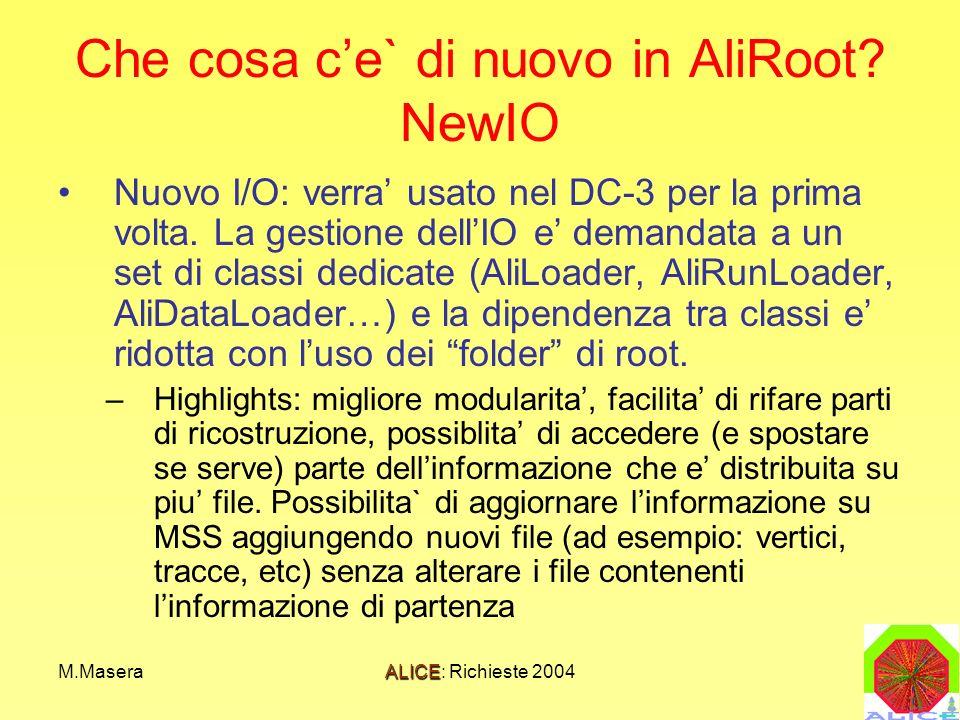 M.MaseraALICE: Richieste 2004 Che cosa ce` di nuovo in AliRoot? NewIO Nuovo I/O: verra usato nel DC-3 per la prima volta. La gestione dellIO e demanda