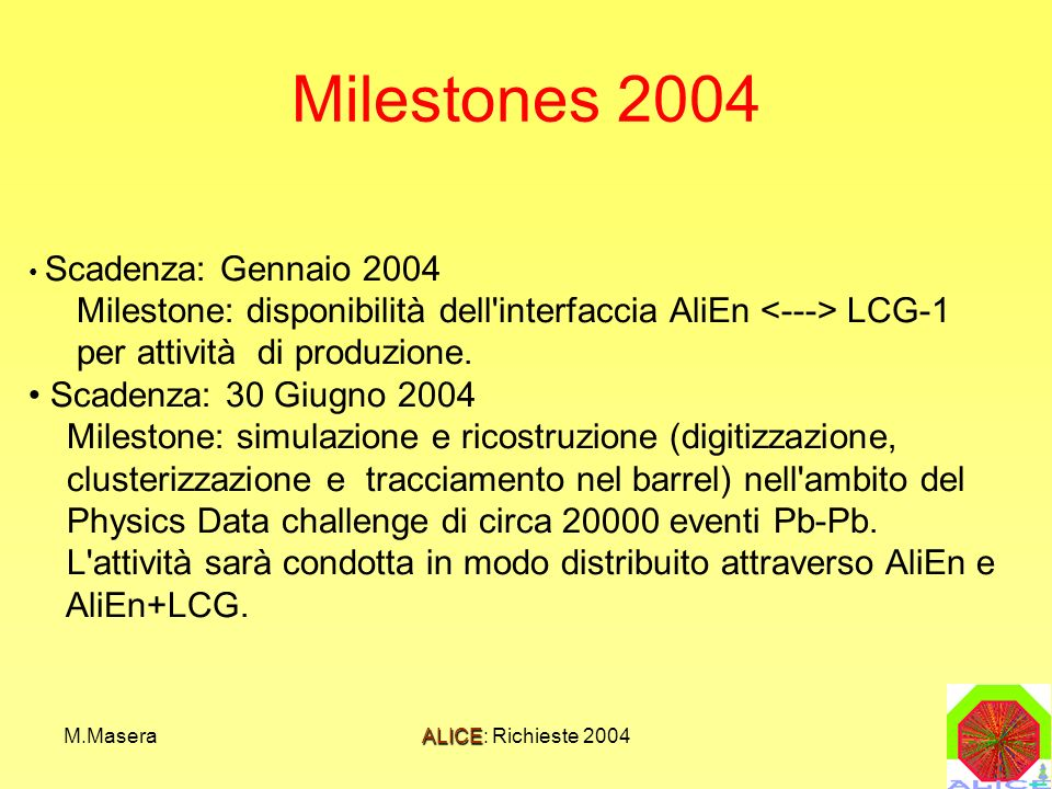 M.MaseraALICE: Richieste 2004 Milestones 2004 Scadenza: Gennaio 2004 Milestone: disponibilità dell interfaccia AliEn LCG-1 per attività di produzione.