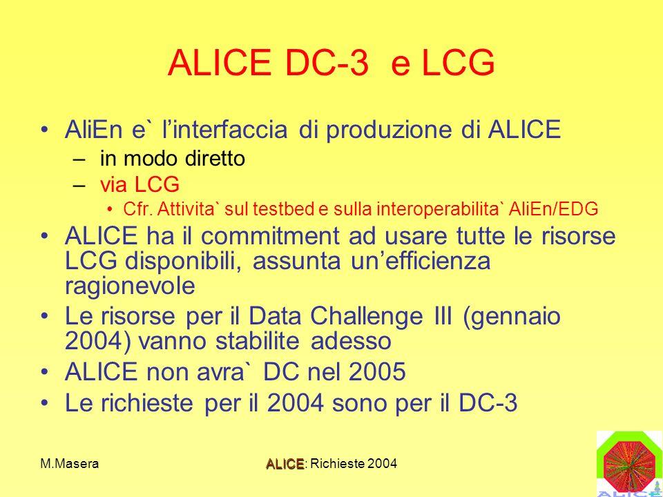M.MaseraALICE: Richieste 2004 ALICE DC-3 e LCG AliEn e` linterfaccia di produzione di ALICE – in modo diretto – via LCG Cfr. Attivita` sul testbed e s