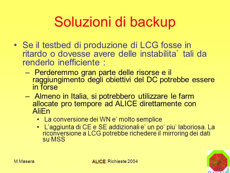 M.MaseraALICE: Richieste 2004 Soluzioni di backup Se il testbed di produzione di LCG fosse in ritardo o dovesse avere delle instabilita` tali da renderlo inefficiente : – Perderemmo gran parte delle risorse e il raggiungimento degli obiettivi del DC potrebbe essere in forse – Almeno in Italia, si potrebbero utilizzare le farm allocate pro tempore ad ALICE direttamente con AliEn La conversione dei WN e molto semplice Laggiunta di CE e SE addizionali e un po piu laboriosa.