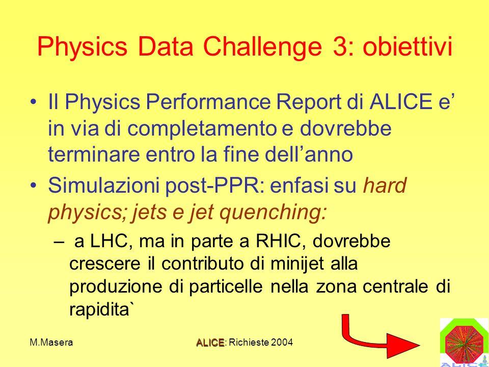 M.MaseraALICE: Richieste 2004 Physics Data Challenge 3: obiettivi Il Physics Performance Report di ALICE e in via di completamento e dovrebbe terminare entro la fine dellanno Simulazioni post-PPR: enfasi su hard physics; jets e jet quenching: – a LHC, ma in parte a RHIC, dovrebbe crescere il contributo di minijet alla produzione di particelle nella zona centrale di rapidita`