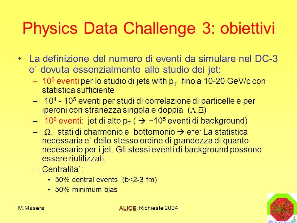 M.MaseraALICE: Richieste 2004 Physics Data Challenge 3: obiettivi La definizione del numero di eventi da simulare nel DC-3 e` dovuta essenzialmente allo studio dei jet: –10 5 eventi per lo studio di jets with p T fino a 10-20 GeV/c con statistica sufficiente – 10 4 - 10 5 eventi per studi di correlazione di particelle e per iperoni con stranezza singola e doppia (, ) – 10 6 eventi: jet di alto p T ( ~10 5 eventi di background) –, stati di charmonio e bottomonio e + e - La statistica necessaria e` dello stesso ordine di grandezza di quanto necessario per i jet.