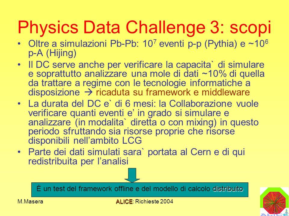 M.MaseraALICE: Richieste 2004 Physics Data Challenge 3: scopi Oltre a simulazioni Pb-Pb: 10 7 eventi p-p (Pythia) e ~10 6 p-A (Hijing) Il DC serve anche per verificare la capacita` di simulare e soprattutto analizzare una mole di dati ~10% di quella da trattare a regime con le tecnologie informatiche a disposizione ricaduta su framework e middleware La durata del DC e` di 6 mesi: la Collaborazione vuole verificare quanti eventi e in grado si simulare e analizzare (in modalita` diretta o con mixing) in questo periodo sfruttando sia risorse proprie che risorse disponibili nellambito LCG Parte dei dati simulati sara` portata al Cern e di qui redistribuita per lanalisi distribuito È un test del framework offline e del modello di calcolo distribuito