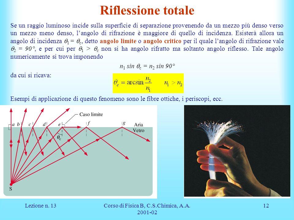 Lezione n. 13Corso di Fisica B, C.S.Chimica, A.A. 2001-02 12 Riflessione totale Se un raggio luminoso incide sulla superficie di separazione provenend