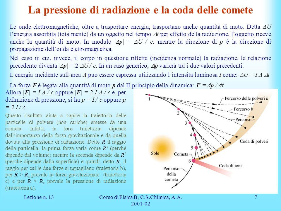 Lezione n. 13Corso di Fisica B, C.S.Chimica, A.A. 2001-02 7 La pressione di radiazione e la coda delle comete Le onde elettromagnetiche, oltre a trasp