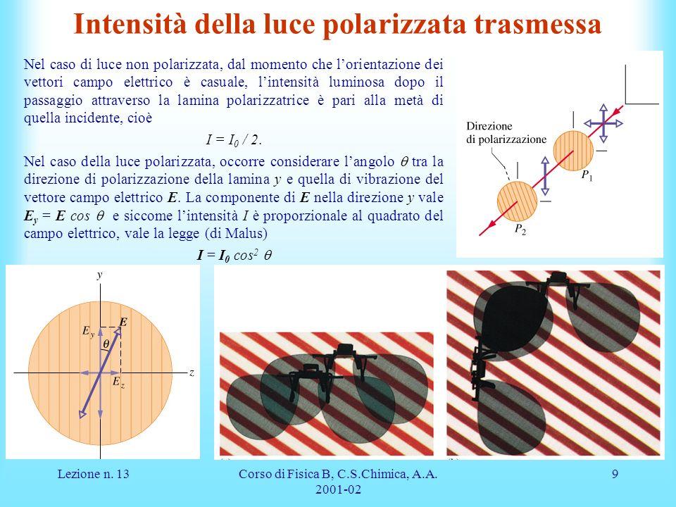 Lezione n. 13Corso di Fisica B, C.S.Chimica, A.A. 2001-02 9 Intensità della luce polarizzata trasmessa Nel caso di luce non polarizzata, dal momento c