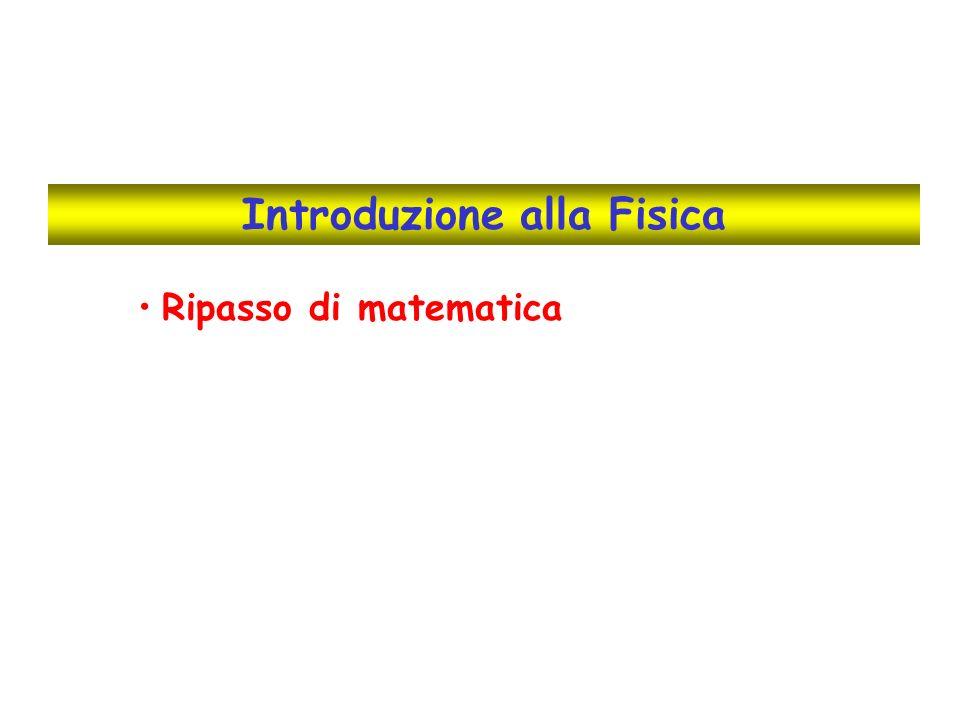 Elementi di matematica utilizzati in questo corso Frazioni Proprietà delle potenze Potenze di dieci e notazione scientifica Manipolazione, semplificazione di espressioni algebriche Soluzione di equazioni di primo grado Proporzioni Conversioni tra unità di misura Percentuali Funzioni e loro rappresentazione grafica Angoli, elementi di trigonometria Elementi di geometria Operazioni coi vettori