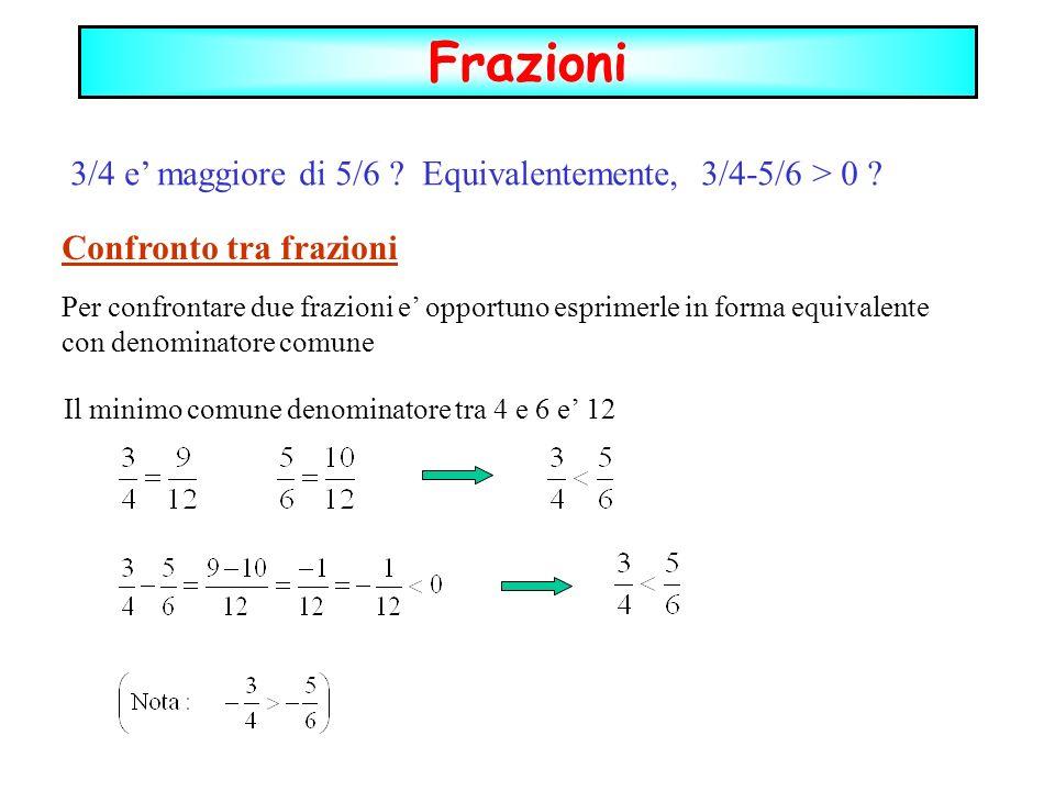 3/4 e maggiore di 5/6 ? Equivalentemente, 3/4-5/6 > 0 ? Confronto tra frazioni Per confrontare due frazioni e opportuno esprimerle in forma equivalent