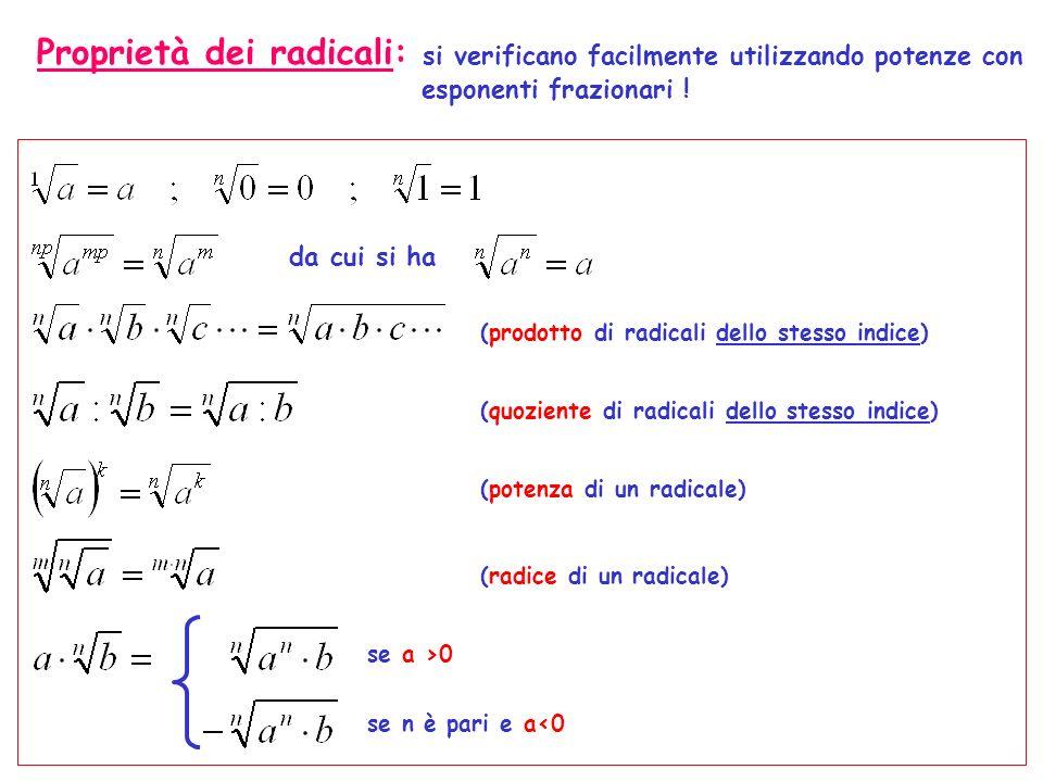 Proprietà dei radicali: si verificano facilmente utilizzando potenze con esponenti frazionari ! da cui si ha (prodotto di radicali dello stesso indice