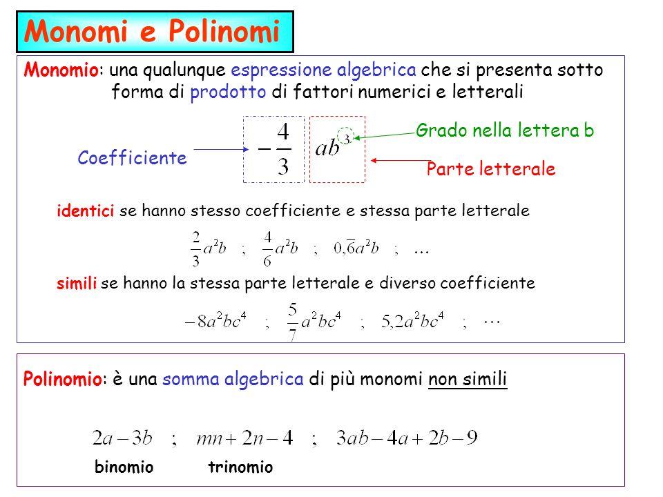 Monomio: una qualunque espressione algebrica che si presenta sotto forma di prodotto di fattori numerici e letterali Monomi e Polinomi Coefficiente Pa