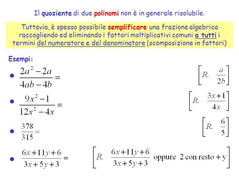 Il quoziente di due polinomi non è in generale risolubile. Tuttavia, è spesso possibile semplificare una frazione algebrica raccogliendo ed eliminando