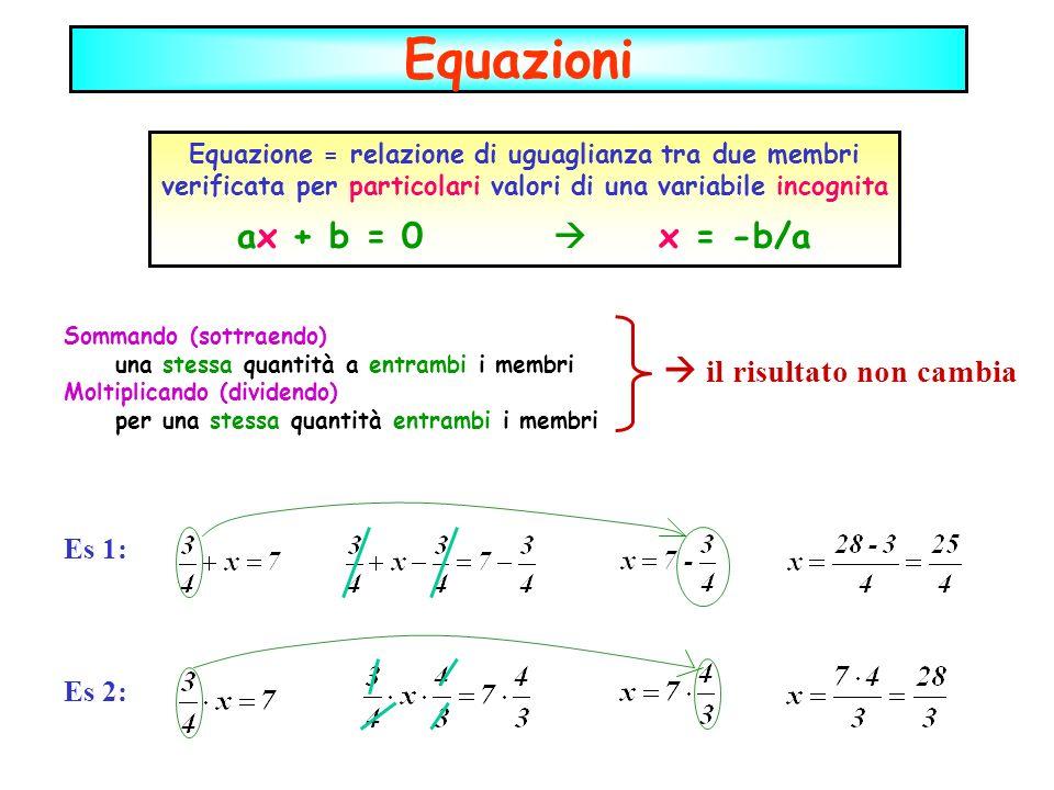 Sommando (sottraendo) una stessa quantità a entrambi i membri Moltiplicando (dividendo) per una stessa quantità entrambi i membri Equazione = relazion