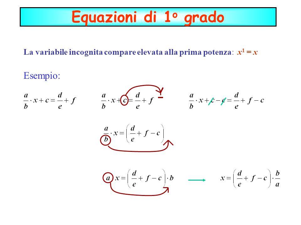Esempio: La variabile incognita compare elevata alla prima potenza: x 1 = x Equazioni di 1 o grado