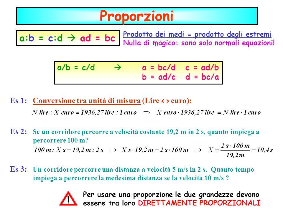 Proporzioni Prodotto dei medi = prodotto degli estremi Nulla di magico: sono solo normali equazioni! a:b = c:d ad = bc a/b = c/d a = bc/d c = ad/b b =