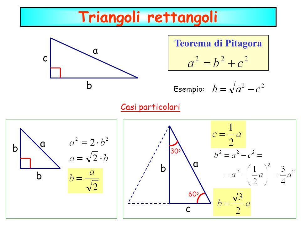 Triangoli rettangoli Teorema di Pitagora a b c Esempio: a b b Casi particolari c b a 30 o 60 o