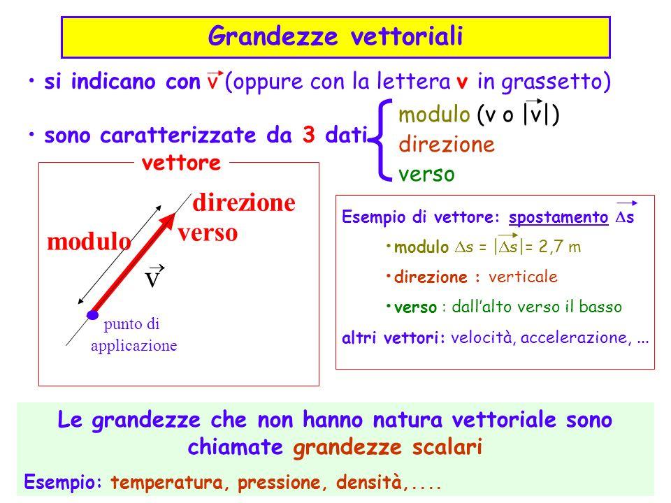 direzione modulo verso punto di applicazione v si indicano con v (oppure con la lettera v in grassetto) sono caratterizzate da 3 dati modulo (v o  v )