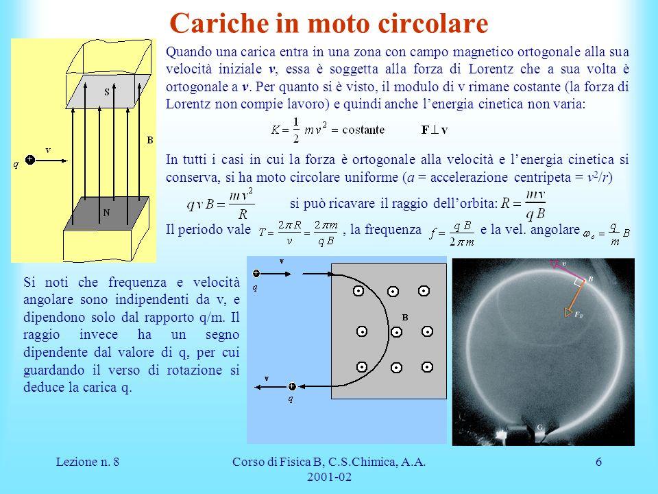 Lezione n. 8Corso di Fisica B, C.S.Chimica, A.A. 2001-02 6 Cariche in moto circolare Quando una carica entra in una zona con campo magnetico ortogonal