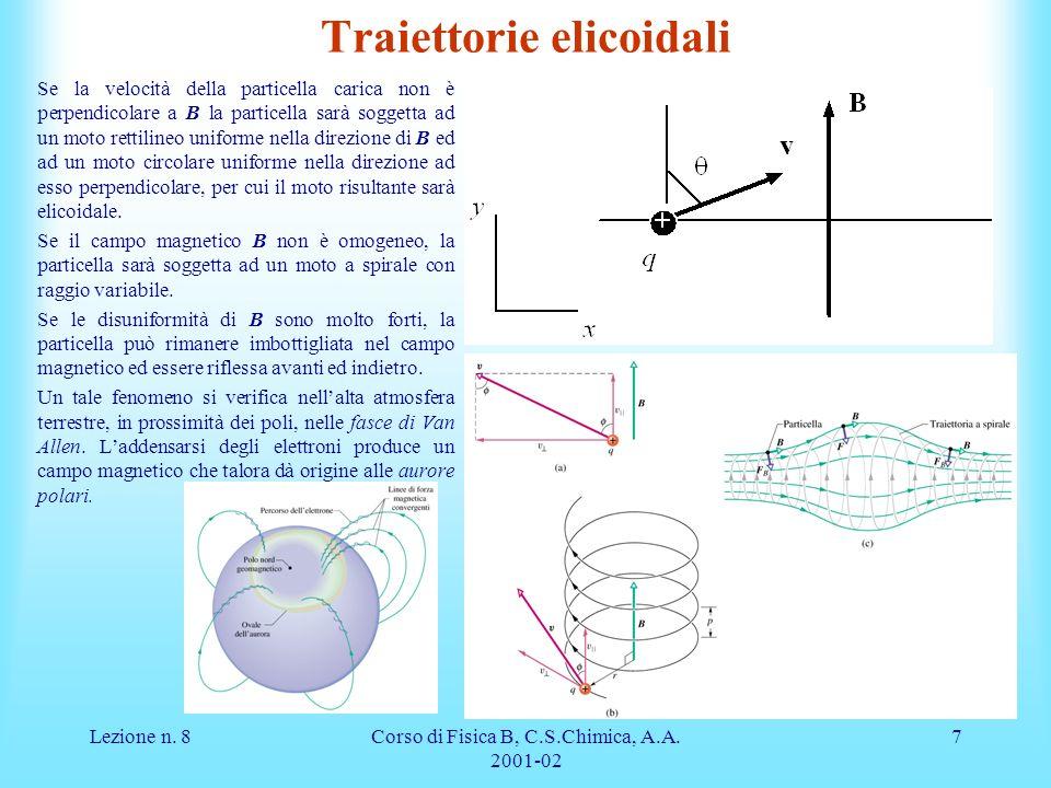 Lezione n. 8Corso di Fisica B, C.S.Chimica, A.A. 2001-02 7 Traiettorie elicoidali Se la velocità della particella carica non è perpendicolare a B la p