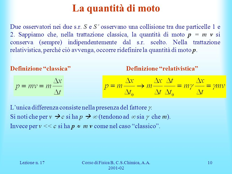 Lezione n. 17Corso di Fisica B, C.S.Chimica, A.A. 2001-02 10 La quantità di moto Due osservatori nei due s.r. S e S osservano una collisione tra due p