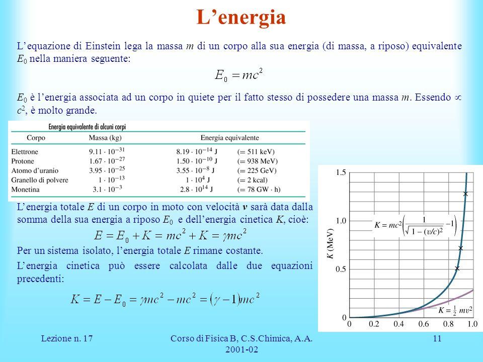 Lezione n. 17Corso di Fisica B, C.S.Chimica, A.A. 2001-02 11 Lenergia totale E di un corpo in moto con velocità v sarà data dalla somma della sua ener