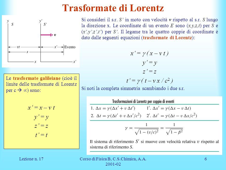 Lezione n. 17Corso di Fisica B, C.S.Chimica, A.A. 2001-02 6 Trasformate di Lorentz Si consideri il s.r. S in moto con velocità v rispetto al s.r. S lu