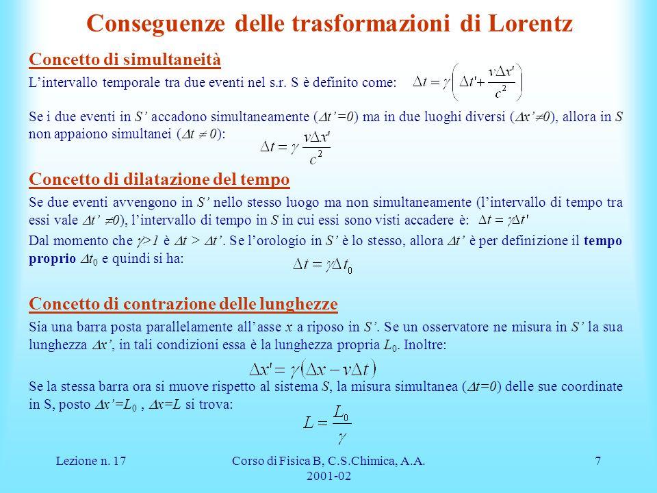 Lezione n. 17Corso di Fisica B, C.S.Chimica, A.A. 2001-02 7 Conseguenze delle trasformazioni di Lorentz Concetto di simultaneità Lintervallo temporale