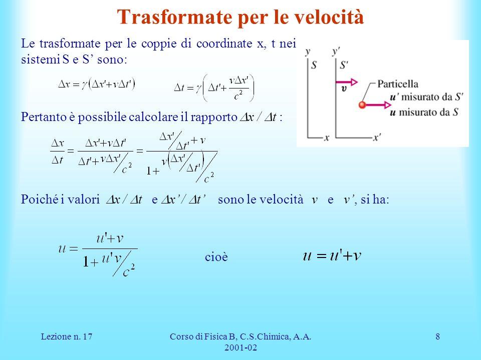 Lezione n. 17Corso di Fisica B, C.S.Chimica, A.A. 2001-02 8 Poiché i valori x / t e x / t sono le velocità v e v, si ha: cioè Trasformate per le veloc